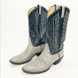Tony Lama Blue Gray Leather Cowboy Western Boots